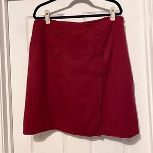 Talbots Red Button Front Ponte Skirt Plus 16WP EUC